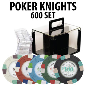 Poker Knights 600 Poker Chip Set W/ Acrylic Carrier and Racks
