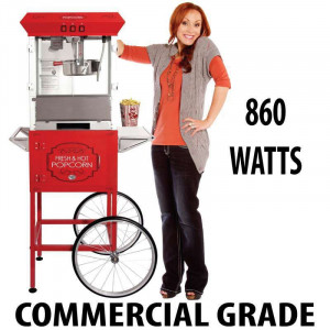 8oz Popcorn machine with cart : 5 Feet RED 2018 Model