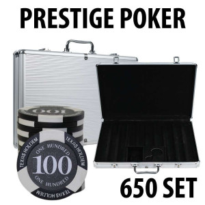Prestige Poker Chips 650 Chip Set with Aluminum Case