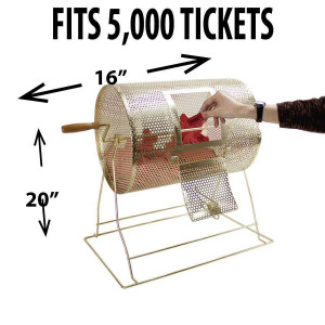 Raffle Drum BRASS MEDIUM Holds up to 5,000 Tickets