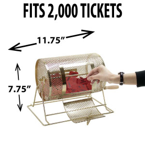 Raffle Drum BRASS SMALL Holds up to 2,000 Tickets