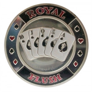 Poker Protector Card Guard Cover in Capsule :  Royal Flush Silver