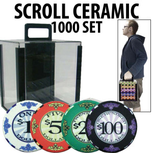Scroll Ceramic Poker Chip Set 1000 with Acrylic Carrier and Racks