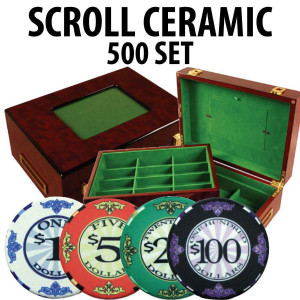 Scroll Ceramic Poker Chip Set 500 with Customizable Wood Case
