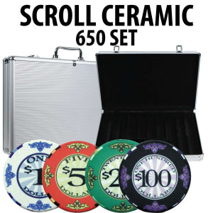 Scroll Ceramic Poker Chip Set 650 with Aluminum Case