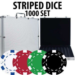 Striped Dice Poker Chips 1000 chips W/ Alum case