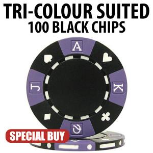 Tri-Colour 11.5 Gram Poker Chips 100 BLACK Chips CLEARANCE