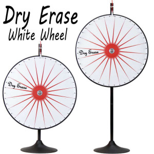 36 Inch Dry Erase White Prize Wheel  with Bonus Extension Base