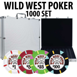 Wild West 1000 Piece Poker Chip Set W/ Aluminum Case