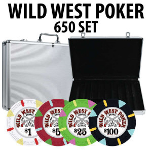 Wild West 650 Poker Chips W/ Aluminum Case