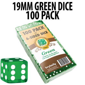 PACK OF 100 Bulk Casino 19mm Green Dice