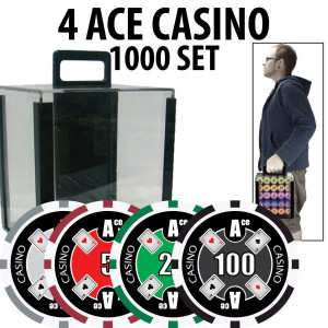 4 Ace Casino Poker Chip Set 1000 Chips with Acrylic Carrier and Racks