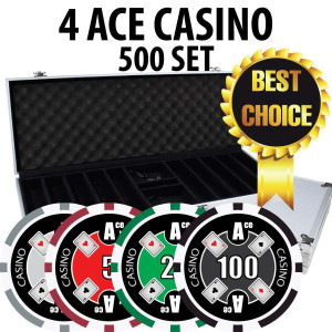 4 Ace Casino Poker Chip Set 500 Chips with Aluminum Case