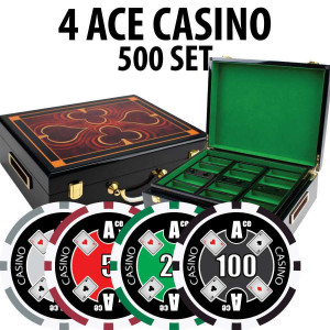 4 Ace Casino Poker Chip Set 500 Chips with Hi Gloss Wood Case