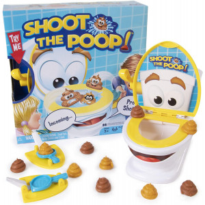 Maya Games Shoot The Poop - Funny Family Game - Fast and Frenzied Flushing Poop Game for Kids - Includes Talking Toilet Bowl, Dexterity Launchers, 12 Soft Plastic Poops