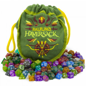 Wiz Dice Polyhedral Dice Halfling's Haversack - 140 Mini Polyhedral Dice