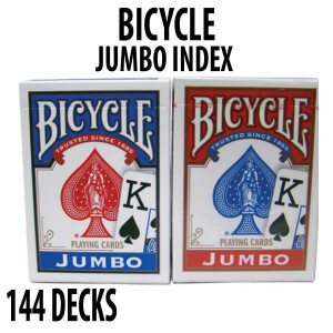 Bicycle Rider Back Plastic Coated Playing Cards 144 Decks Red & Blue JUMBO Index