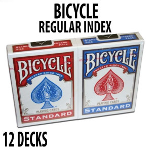 Bicycle Rider Back Plastic Coated Playing Cards 12 Decks Red & Blue Standard