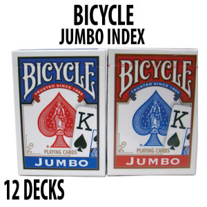 Bicycle Rider Back Plastic Coated Playing Cards 12 Decks Red & Blue JUMBO Index