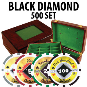 Black Diamond Poker Chips 500 W/ Customizable Wood Case