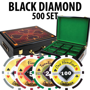 Black Diamond Poker Chips 500 W/ Hi Gloss Wood Case