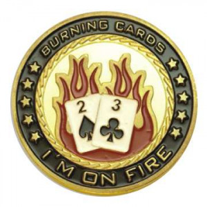 Poker Protector Card Guard Cover in Capsule :  Burning Cards I'm on Fire