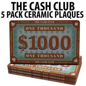 The Cash Club Ceramic Poker Chip Plaques $1000  Pack of 5
