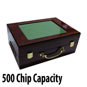 500 capacity : Customizable Hi-Gloss Wooden Poker Chip Case