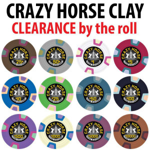CLEARANCE Crazy Horse Clay Poker Chips : 10g Chips : Sold by the roll