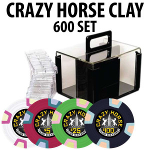 2017 Crazy Horse 600 Poker Chips W/ Acrylic Carrier and racks