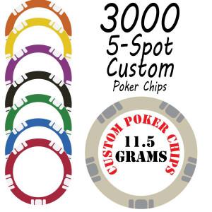 5 Spot 11.5g Custom Chips : 3000 chips