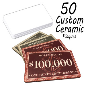 Custom Ceramic Poker Chip Plaques 40g Chips : 50 Plaques