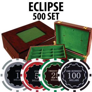 Eclipse Poker Chips 500 W/ Customizable Wood Case