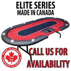 POKER TABLE SPS ELITE - Red Dealer Table With Steel Folding Legs