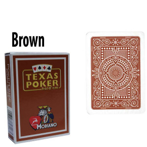 Modiano Texas Holdem Poker Wide Jumbo Index - Single Deck Brown