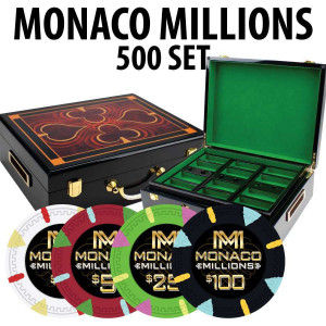 Monaco Millions 500 Poker Chip Set with Hi Gloss Wood case