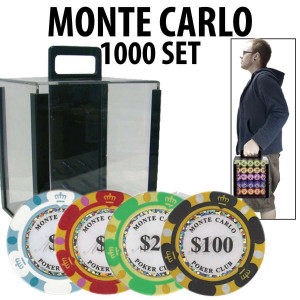 Monte Carlo 1000 Poker Chip Set with Acrylic Carrier and Racks