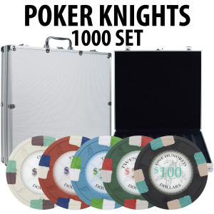 Poker Knights 1000 Poker Chip Set W/ Aluminum Case