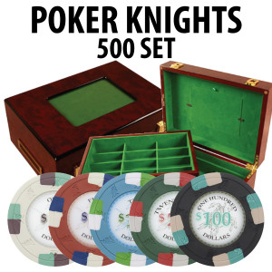 Poker Knights 500 Poker Chip Set with Customizable Wood case