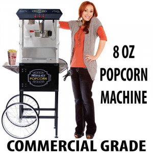 8oz Popcorn machine with cart : 5 Feet BLACK 2017 Model