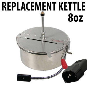 Popcorn Machine Kettle Replacement 8oz with Metal Cord - O Type cord