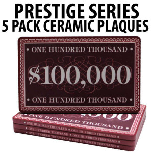 Prestige Series Ceramic Poker Chip Plaques $100,000  Pack of 5