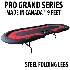 Poker Table 9 foot SPS Pro Grand Red Dealer With Steel Folding Legs
