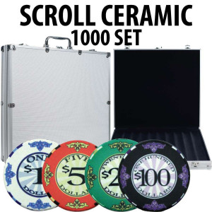 Scroll Ceramic Poker Chip Set 1000 with Aluminum Case