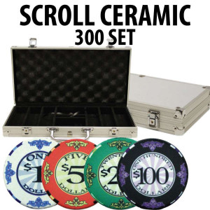 Scroll Ceramic Poker Chip Set 300 with Aluminum Case