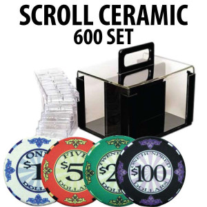 Scroll Ceramic Poker Chip Set 600 with Acrylic Carrier and Racks