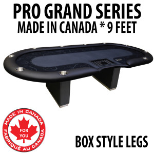 Poker Table 9 foot SPS Pro Grand Black Dealer With Box Style Legs