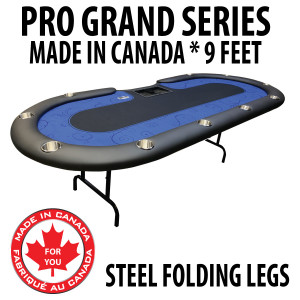 Poker Table 9 foot SPS Pro Grand Blue Dealer With Steel Folding Legs
