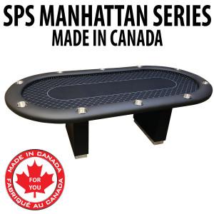 Poker Table SPS Manhattan Full Rail - Black Crown Cloth