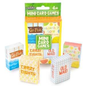Mini Kids Card Games, 4-Pack Crazy Eights, Old Maid, Go Fish, and Alphabet Soup
